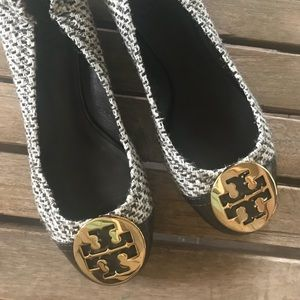 Tory Burch Brown Tweed Flats Size 6.5